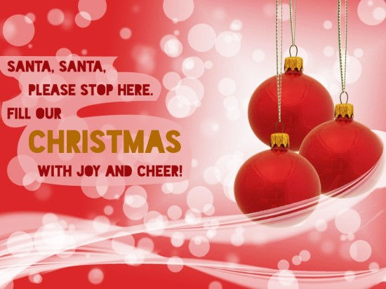 Fill our Christmas with joy and cheer